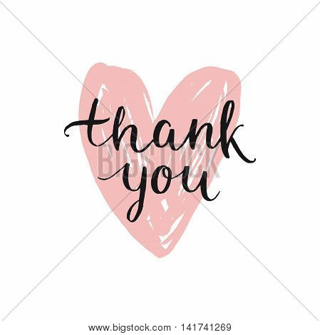 Vector Thank you card handdrawn font on ink heart. Thanks illustration with modern lettering isolated on white background