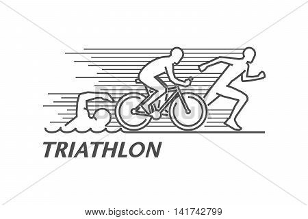 Vector black line logo triathlon. Figures triathletes on a white background. Swimming cycling and running symbol. Open path.