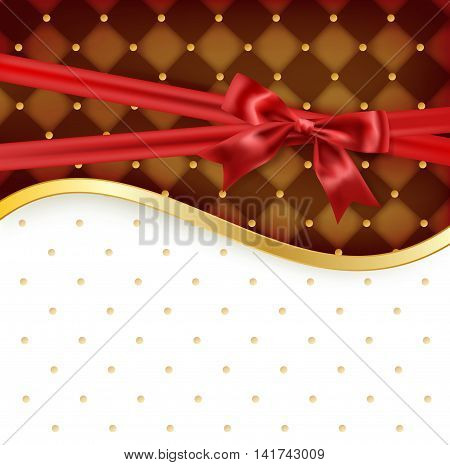 celebration background with chocolate color and golden border red satin bow. vector illustration