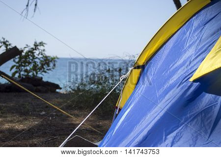 Close up of camping tent with morning dew