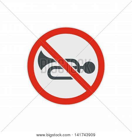 No horn traffic icon in flat style on a white background