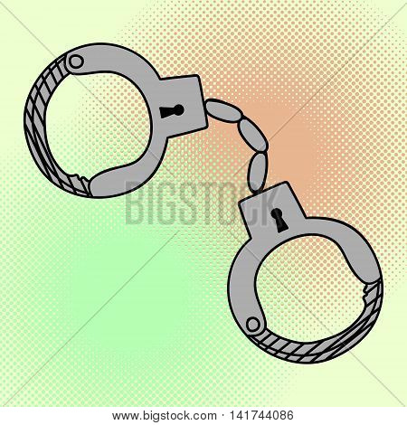 Handcuffs pop art vector. Beautiful comic style. Hand drawn manacle