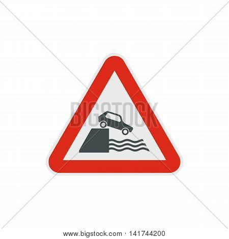 Riverbank traffic sign icon in flat style on a white background