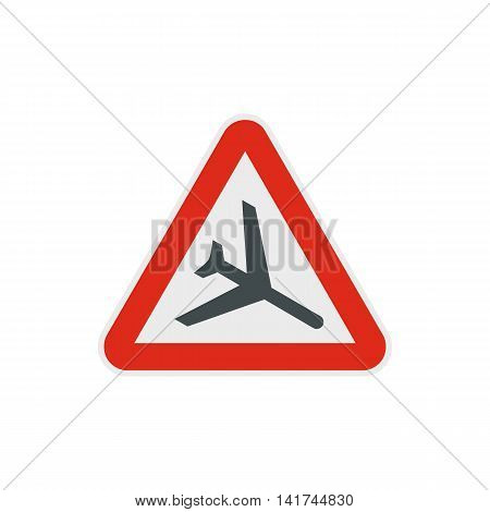 Warning sign of low flying aircraft icon in flat style on a white background