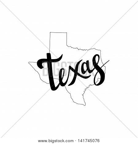 Texas Brush Lettering. Silhouette Map Of Texas On A White Background. Vector Illustration. Isolated
