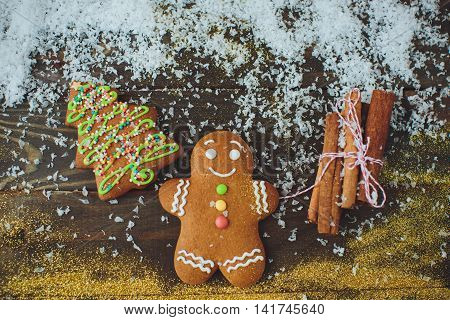 Gingerbread Cookies: Christmas Tree And Man. New Year's Concert