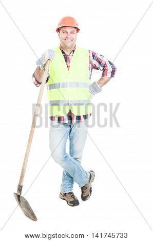 Smiling Construction Worker With Helmet And Shovel
