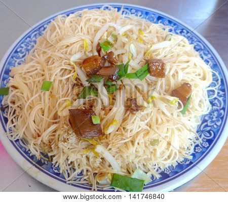 Delicious stir-fried rice noodles closeup in Taiwan
