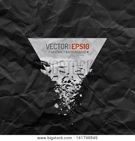 White triangle with debris on black background with creased paper texture. Poster or flyer design concept . Vector illustration