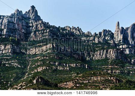 Spectacular Montserrat mountains, near Barcelona city. Spain