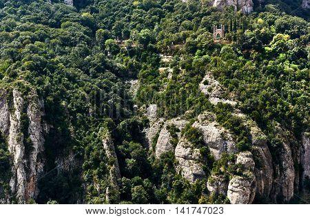 Spectacular Montserrat mountains, near Barcelona in Spain