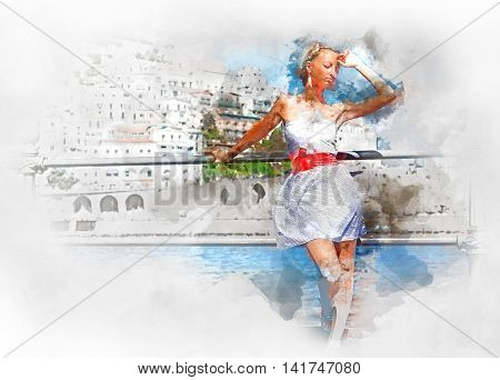 Digital watercolor painting of a beautiful young woman in Atrani town in Amalfi coast. Italy