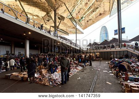 Barcelona Spain - April 4 2016: Inside of Mercat dels Encants. It is a Barcelona's largest and best known flea market. One of the oldest flea markets in Europe and Spain