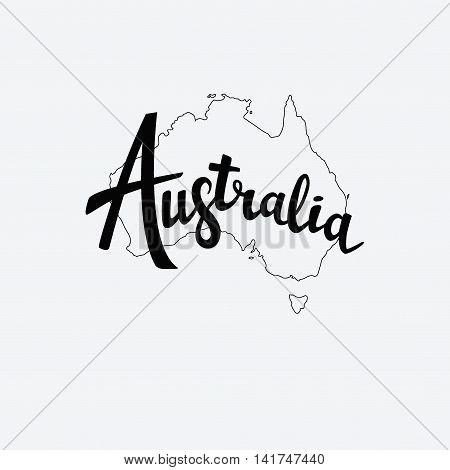 Australia Brush Lettering. Silhouette Map Of Australia. Vector Illustration. Isolated Elements