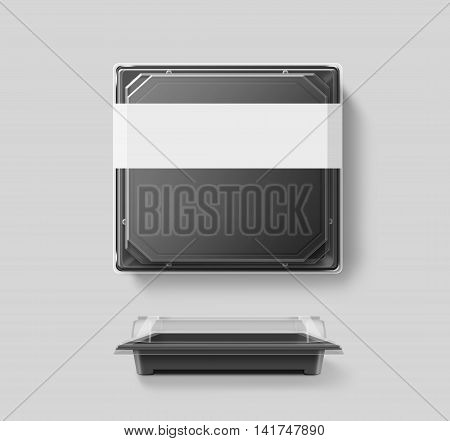 Big blank plastic disposable food container mockup transparent lid isolated clipping path 3d illustration. Sushi empty to go bento delivery box mock up. Meal lunch take away clear tray template.