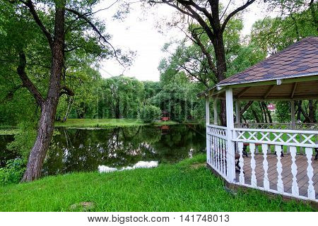Gazebo in the park by the river