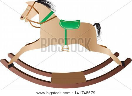 A Childs Rocking Horse isolated on white