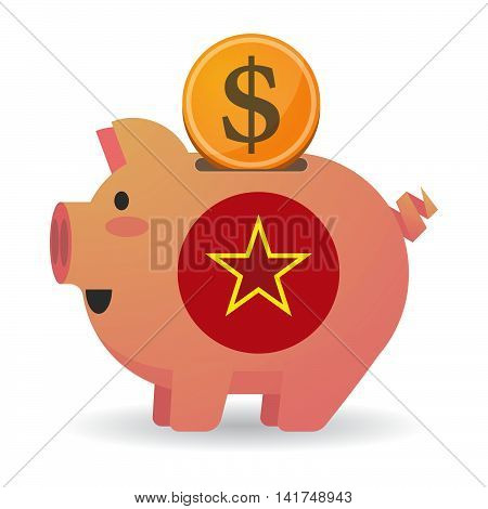 Isolated  Piggy Bank Icin With  The Red Star Of Communism Icon