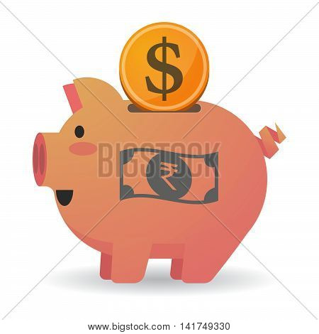 Isolated  Piggy Bank Icin With  A Rupee Bank Note Icon
