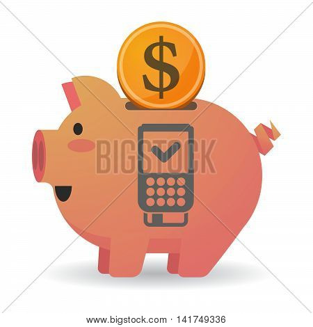 Isolated  Piggy Bank Icin With  A Dataphone Icon