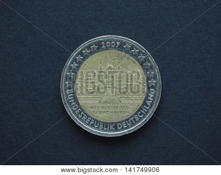 2 Euro (eur) Coin, Currency Of European Union (eu)