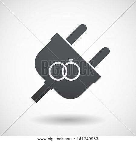 Isolated Male Plug With  Two Bonded Wedding Rings