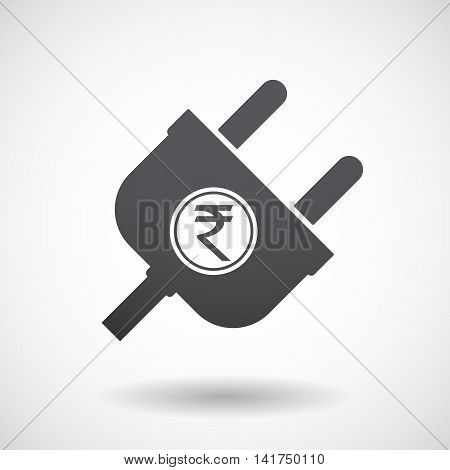 Isolated Male Plug With  A Rupee Coin Icon
