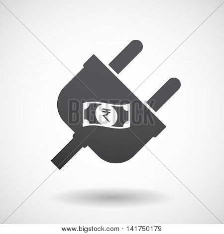 Isolated Male Plug With  A Rupee Bank Note Icon