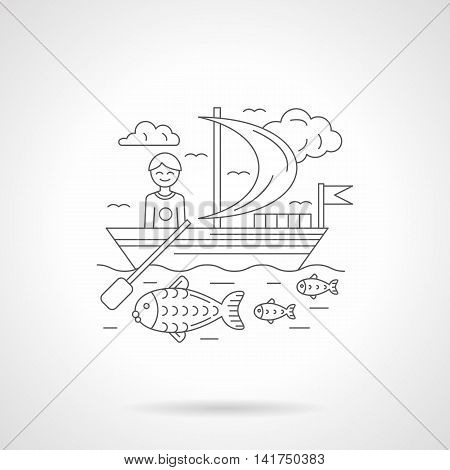 Sailing boat with smiling male, fish in a water and cloudy sky. Abstract illustration of boating. Travel and active leisure concept. Detailed flat line vector icon. Web design element.