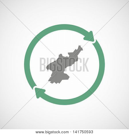 Isolated Reuse Icon With  The Map Of North Korea