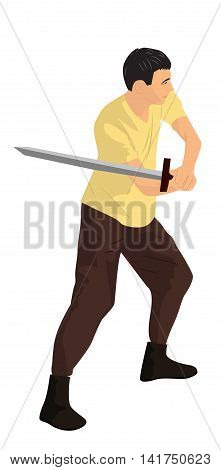 A young warrior with a sword. Cartoon vector illustration