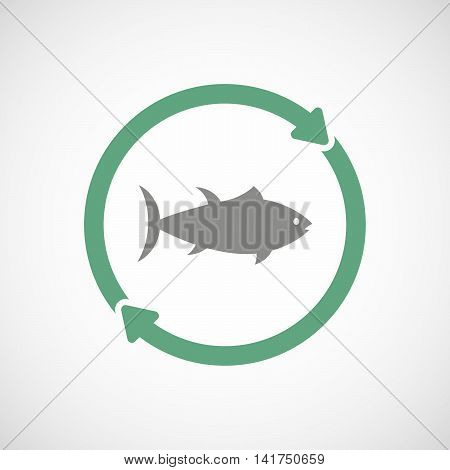 Isolated Reuse Icon With  A Tuna Fish