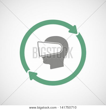 Isolated Reuse Icon With  A Male Head Wearing A Virtual Reality Headset