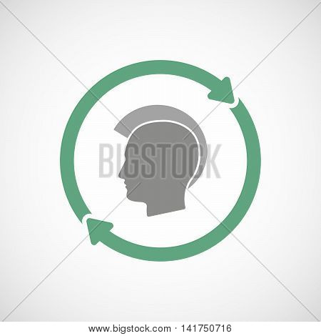 Isolated Reuse Icon With  A Male Punk Head Silhouette
