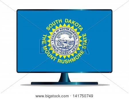 A TV or computer screen with the South Dakota state flag