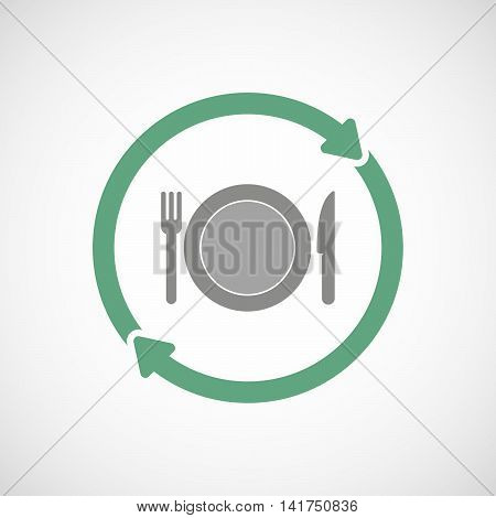 Isolated Reuse Icon With  A Dish, Knife And A Fork Icon