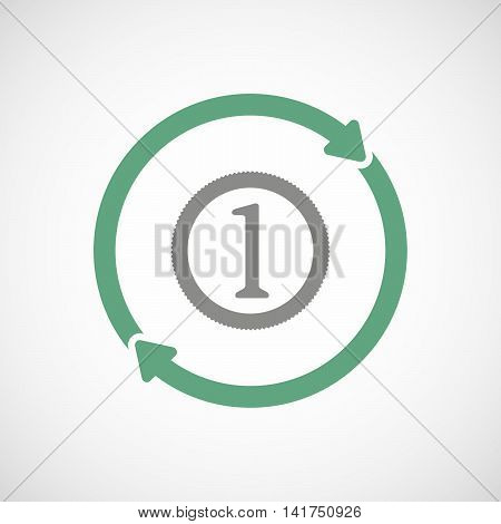 Isolated Reuse Icon With  A Coin Icon
