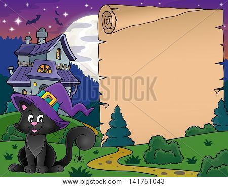 Halloween parchment with cat and house - eps10 vector illustration.