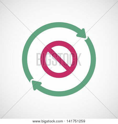 Isolated Reuse Icon With  A Forbidden Sign