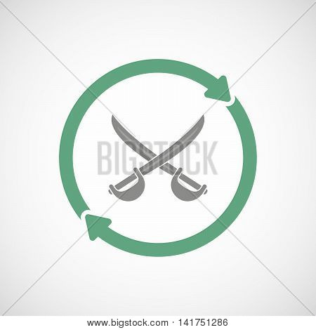 Isolated Reuse Icon With  Two Swords Crossed