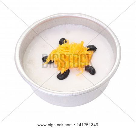 Gold egg yolk threads and black bean top coconut sticky rice cup on white background.