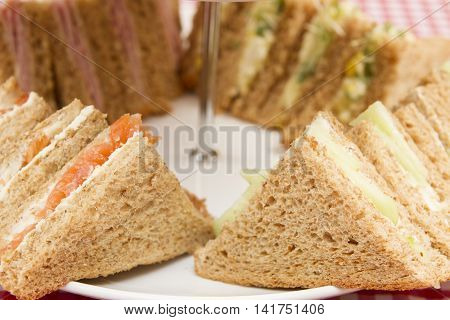 Light lunch of sandwiches with various fillings A light lunch of different sandwiches