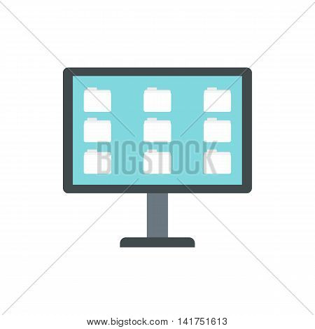 Desktop of computer with folders icon in flat style on a white background