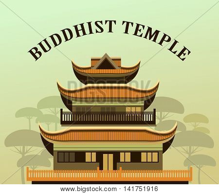 vector illustration of an old Buddhist temple with a garden