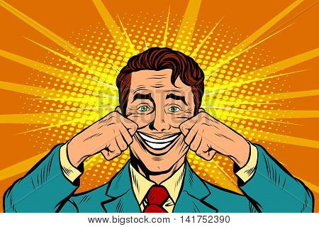 businessman smiling falsely, pop art retro vector illustration. False emotions