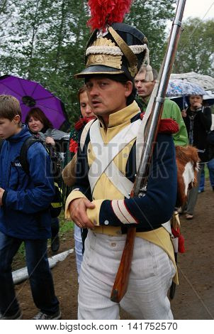 MOSCOW REGION - SEPTEMBER 02: Unknown soldier at Borodino historical reenactment battle at its 200 anniversary. Taken on September 02 2012 in Borodino Moscow Region Russia.