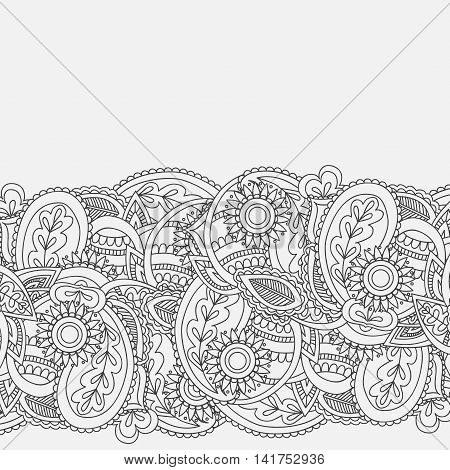 Henna Mehndi Card Template. Mehndi invitation design,  Element for decoration invitations and cards, floral line art Paisley ornament.