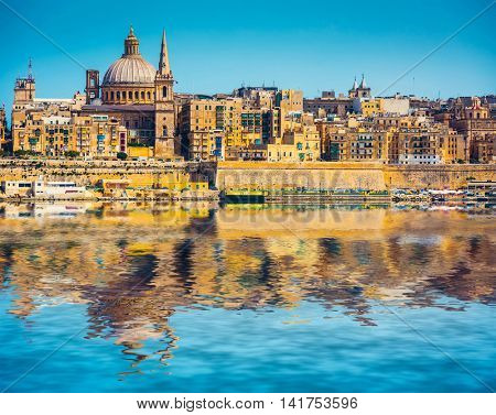 scenic View of Marsamxett Harbour and Valletta in Malta with reflection