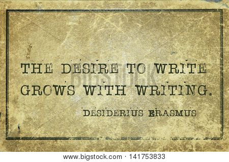 Desire To Write Erasmus