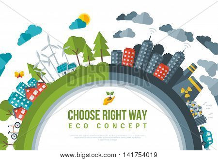 Eco Friendly, Green Energy Concept Frame. Vector Flat Illustration. Solar Energy Town, Wind Energy. Dirty City - Factories, Air Pollution, Landfill. Atomic plants. Save the Planet, Earth Day.